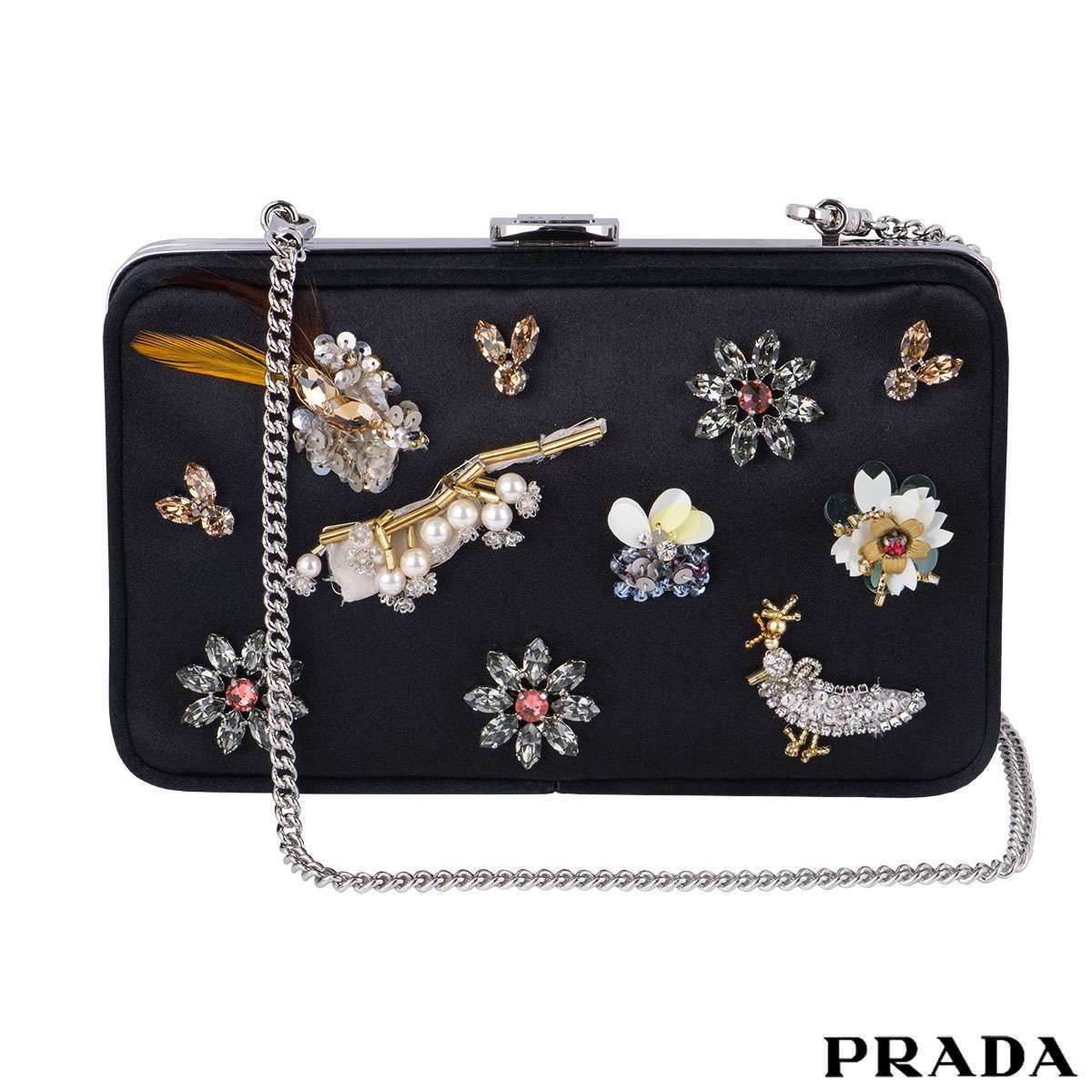 Prada Satin Embellished Box Clutch